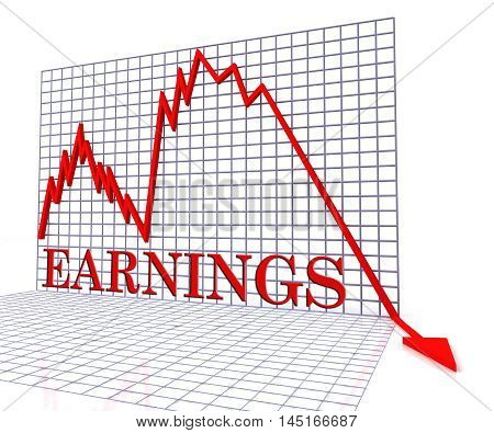 Earnings Graph Negative Indicates Wage Crisis 3D Rendering