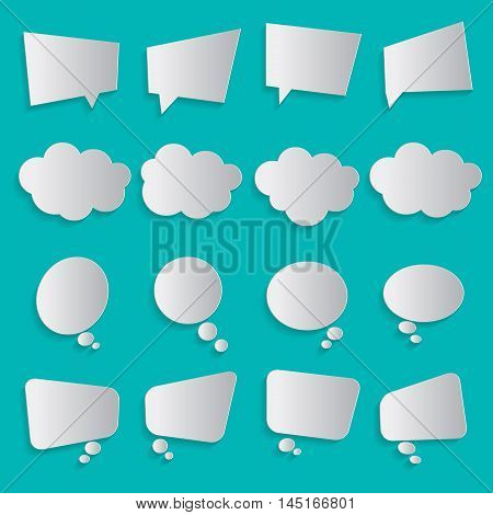 Blank empty white simple flat speech dialog communication bubbles paper collection set isolated green background with shadow. Vector illustration. Infographic abstract design.