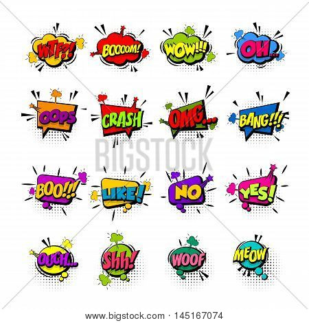 Comic collection colored sound effects pop art vector style. Set sound bubble speech with word and comic cartoon expression