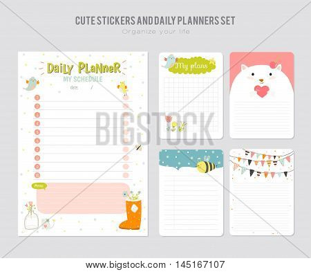 Cute Daily Calendar Template. Note Paper and Stickers Set with Vector Funny Animals Illustrations. Good for Kids. Fun Background. Organizer and Schedule with place for Notes.