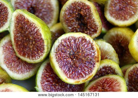 Ripe fresh  pulp figs cut in half