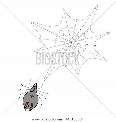 Vector illustration of logo, spider weaves a web, waiting for prey. Isolated drawing wildlife, silk trap, predator with red stripes on the back, white background. The icon for the terrible Halloween.