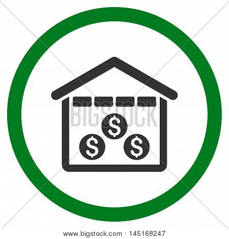 Money Depository vector bicolor rounded icon. Image style is a flat icon symbol inside a circle, green and gray colors, white background.