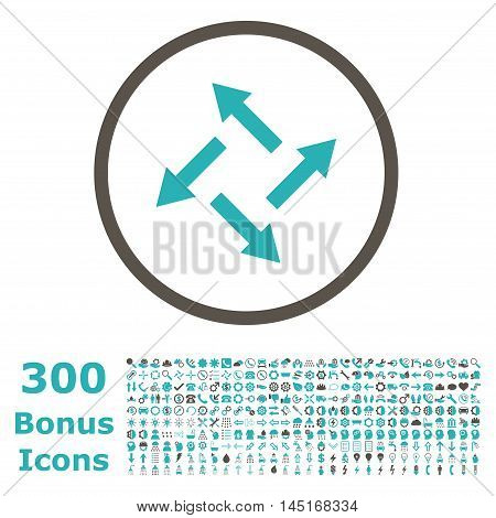 Centrifugal Arrows rounded icon with 300 bonus icons. Vector illustration style is flat iconic bicolor symbols, grey and cyan colors, white background.