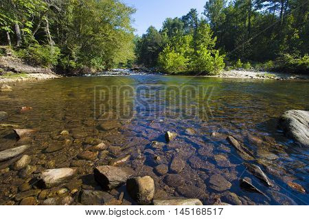 Wilson Creek with a lot of rock in the water in North Carolina