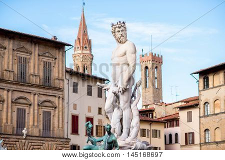 Fountain of Neptune on Signoria square in Florence old town in Italy