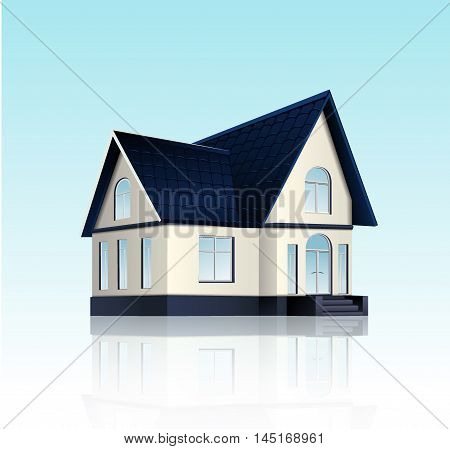Vector home buildings illustration in perspective view. Family roof house