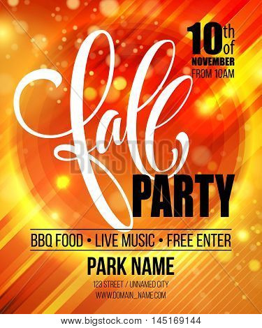 Fall Party. Template for Autumn poster, banner, flyer. Vector illustration. Vector illustration EPS10