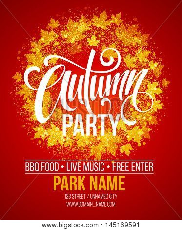 Autumn Party. Template for Autumn poster, banner, flyer. Vector illustration. Vector illustration EPS10