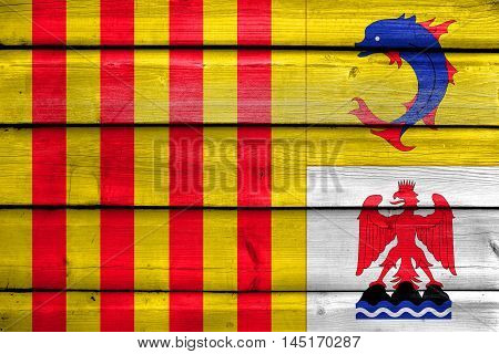 Flag Of Provence Alpes Cote D'azur, France, Painted On Old Wood Plank Background