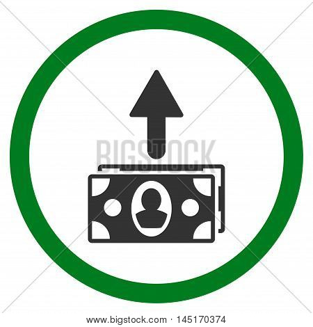 Spend Banknotes vector bicolor rounded icon. Image style is a flat icon symbol inside a circle, green and gray colors, white background.