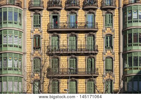 Modernism building in Eixample district in Barcelona Catalonia Spain