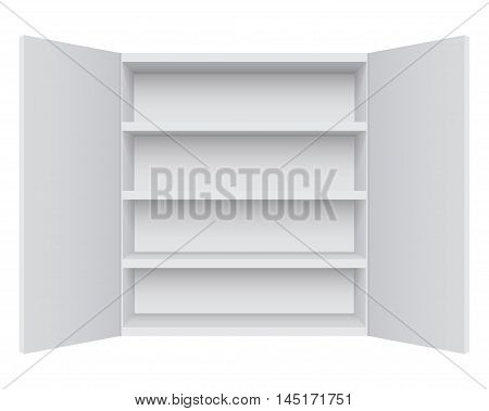 Empty white cabinet isolated on white background