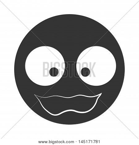 silhouette face emoticon scared silhouette isolated vector illustration eps 10