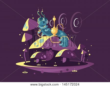 Absolem character, fantasy caterpillar, Hookah with Smoke and Mushrooms. Alice In Wonderland vintage concept. vector illustration.