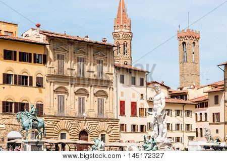 Signoria square with fountain of Neptune in Florence old town in Italy