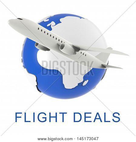 Flight Deals Represents Airplane Sale 3D Rendering