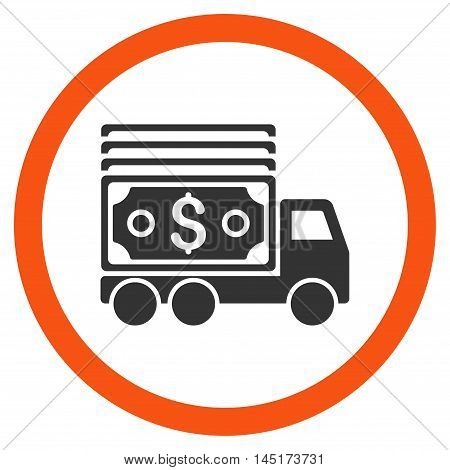 Cash Lorry vector bicolor rounded icon. Image style is a flat icon symbol inside a circle, orange and gray colors, white background.
