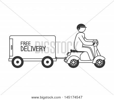 cartoon free delivery motorcycle isolated vector illustration eps 10