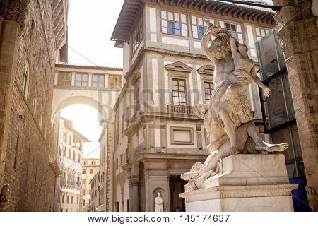 Sculpture on the loggia dei Lanzi in Florence old town in Italy