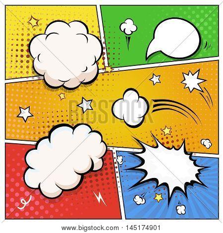 Comic Book Speech Bubbles. A set of colourful and retro comic book design elements illustration.