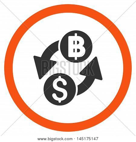 Dollar Baht Exchange vector bicolor rounded icon. Image style is a flat icon symbol inside a circle, orange and gray colors, white background.