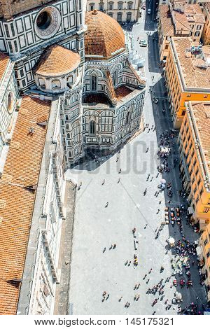 Close-up top view on Santa Maria del Fiore church and cathedral square in Florence
