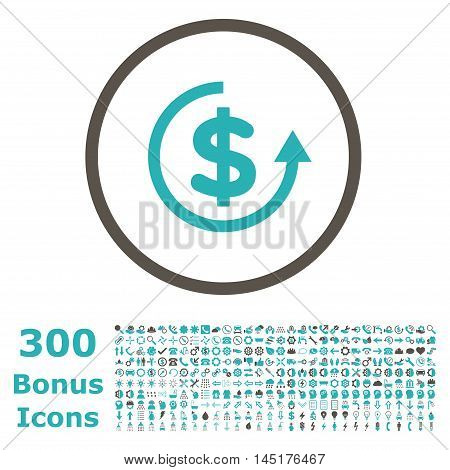 Refund rounded icon with 300 bonus icons. Vector illustration style is flat iconic bicolor symbols, grey and cyan colors, white background.