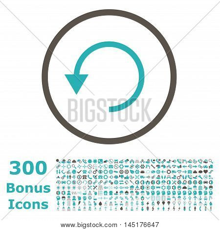 Rotate Ccw rounded icon with 300 bonus icons. Vector illustration style is flat iconic bicolor symbols, grey and cyan colors, white background.
