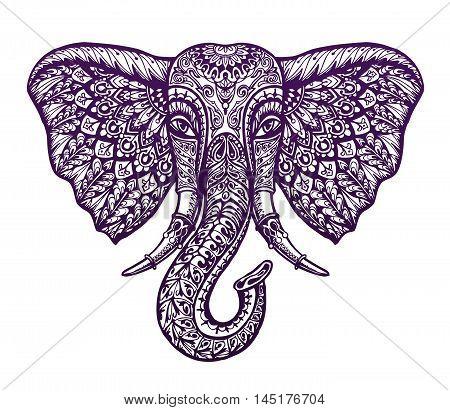 Hand drawn head elephant with ornament. Vector illustration