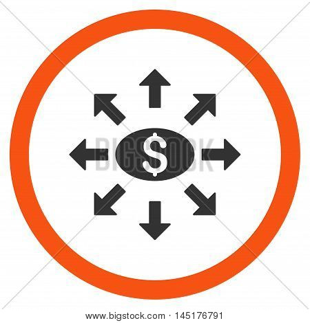 Mass Cashout vector bicolor rounded icon. Image style is a flat icon symbol inside a circle, orange and gray colors, white background.