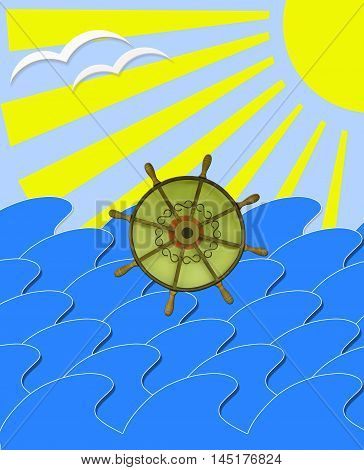illustration of marine waves with steering-wheel mews and sun beams