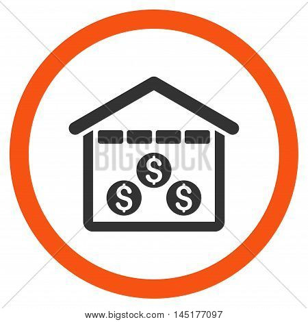 Money Depository vector bicolor rounded icon. Image style is a flat icon symbol inside a circle, orange and gray colors, white background.