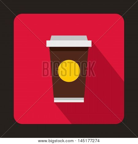 Coffee in take away cup icon in flat style isolated with long shadow