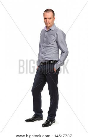 Successful business man in shirt, full length portrait isolated on white