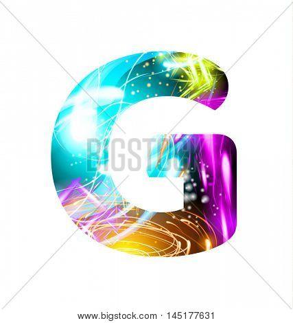 Glowing Light effect neon Font. Firework Color Design Text Symbols. Shiny letter G