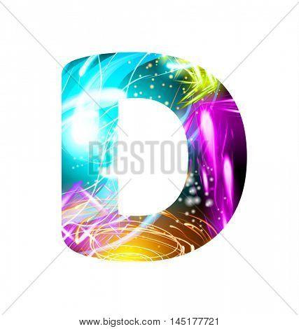 Glowing Light effect neon Font. Firework Color Design Text Symbols. Shiny letter D
