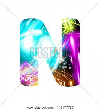Glowing Light effect neon Font. Firework Color Design Text Symbols. Shiny letter N
