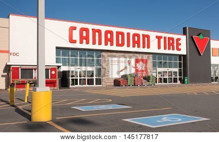 DARTMOUTH CANADA - AUGUST 31 2016: Canadian Tire storefront. Canadian Tire is a Canadian retail company. Its head office is in Toronto Ontario.