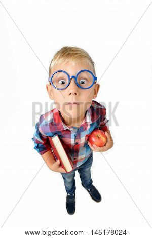 Wide angle full length portrait of boy a student in shirt in glasses hugging book and apple in hands looking at camera isolated on white background. School preschool