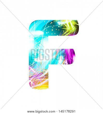 Glowing Light effect neon Font. Firework Color Design Text Symbols. Shiny letter F