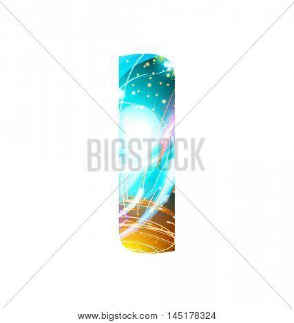 Glowing Light effect neon Font. Firework Color Design Text Symbols. Shiny letter I
