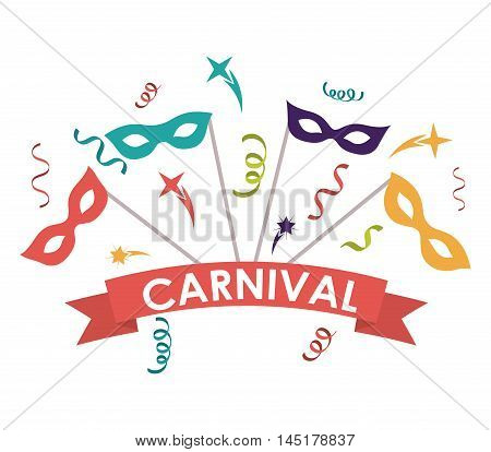 streamer mask carnival festival circus fair celebration  icon. Colorful design. Vector illustration