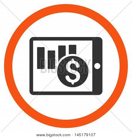 Sales Chart on Pda vector bicolor rounded icon. Image style is a flat icon symbol inside a circle, orange and gray colors, white background.