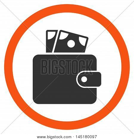 Wallet vector bicolor rounded icon. Image style is a flat icon symbol inside a circle, orange and gray colors, white background.