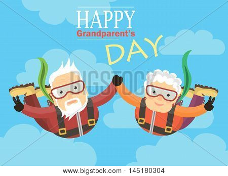 Greeting card happy grandparents. Grandparents skydive in the sky.