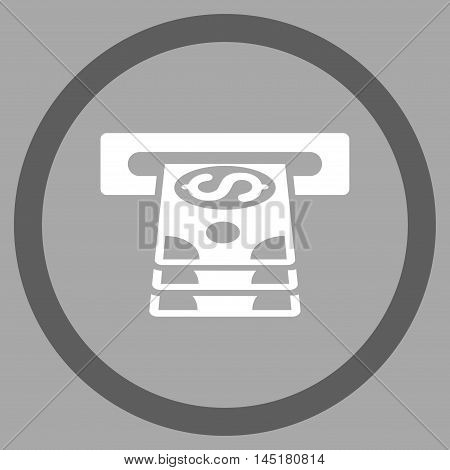 Bank Cashpoint vector bicolor rounded icon. Image style is a flat icon symbol inside a circle, dark gray and white colors, silver background.