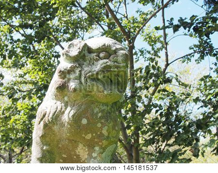 The guardian lion dog at Shinto shrine