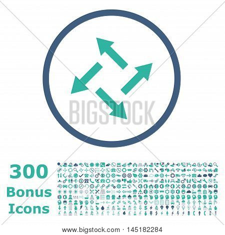 Centrifugal Arrows rounded icon with 300 bonus icons. Vector illustration style is flat iconic bicolor symbols, cobalt and cyan colors, white background.