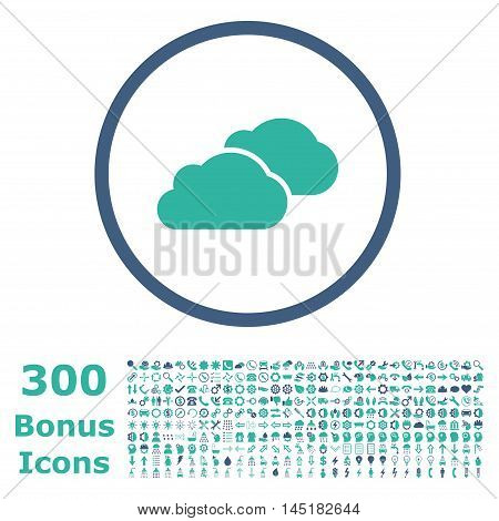 Clouds rounded icon with 300 bonus icons. Vector illustration style is flat iconic bicolor symbols, cobalt and cyan colors, white background.
